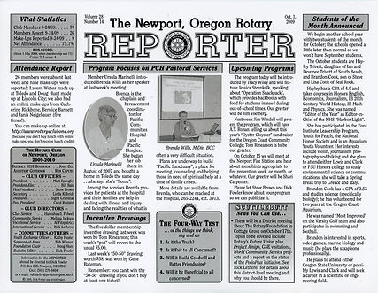 Rotary of Newport, Oregon October 1, 2009 newsletter