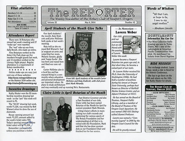 May 8, 2014 Rotary of Newport, Oregon Newsletter