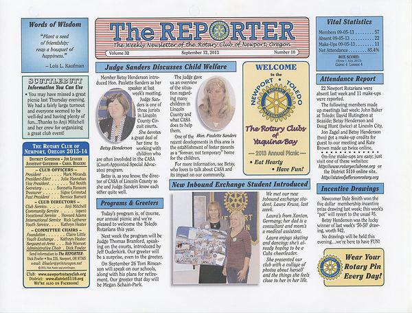September 12, 2013 Rotary of Newport, Oregon Newsletter