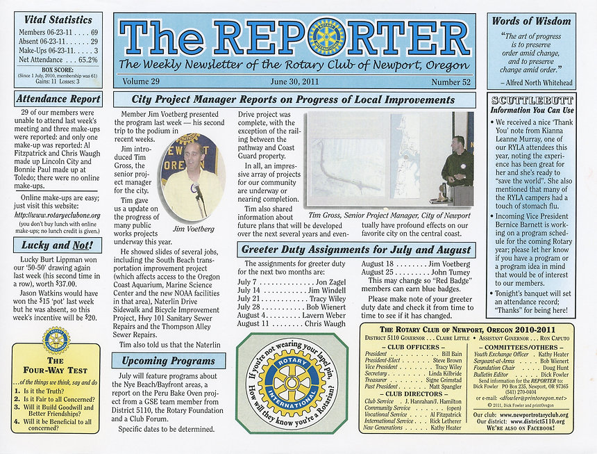 Rotary of Newport, Oregon June 30, 2011 newsletter
