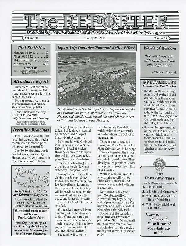 January 26, 2012 Rotary of Newport, Oregon Newsletter