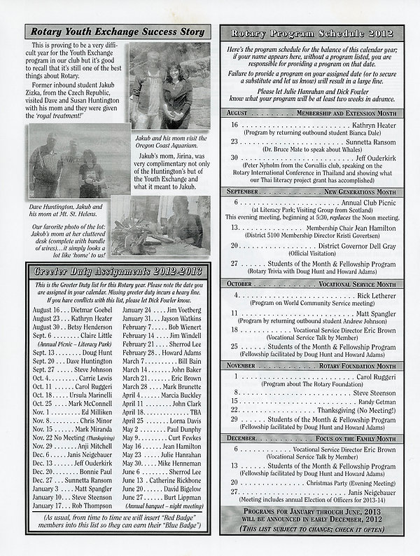 August 16, 2012 Rotary of Newport, Oregon Newsletter.