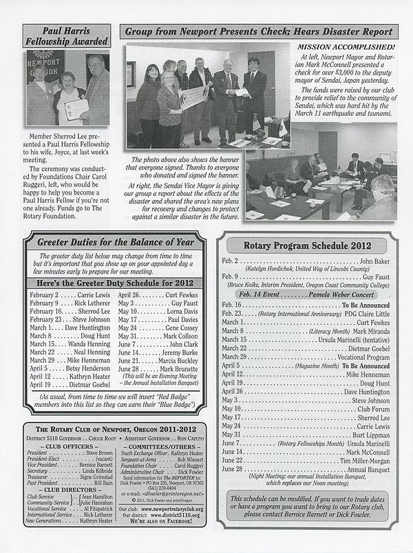 February 2, 2012 Rotary of Newport, Oregon Newsletter