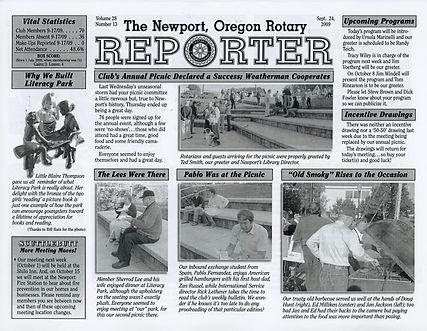 Rotary of Newport, Oregon September 24, 2009 newsletter
