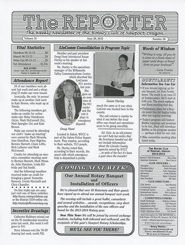 June 20, 2013 Rotary of Newport Newsletter
