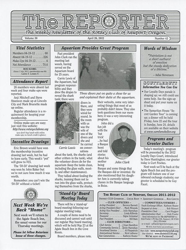April 26, 2012 Rotary of Newport, Oregon Newsletter