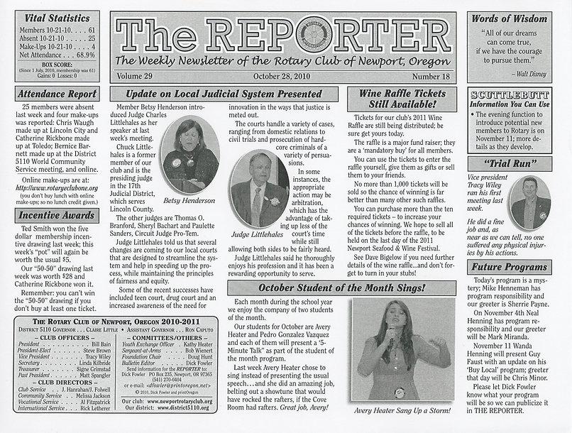 Rotary Club of Newport, Oregon October 28, 2010 newsletter.