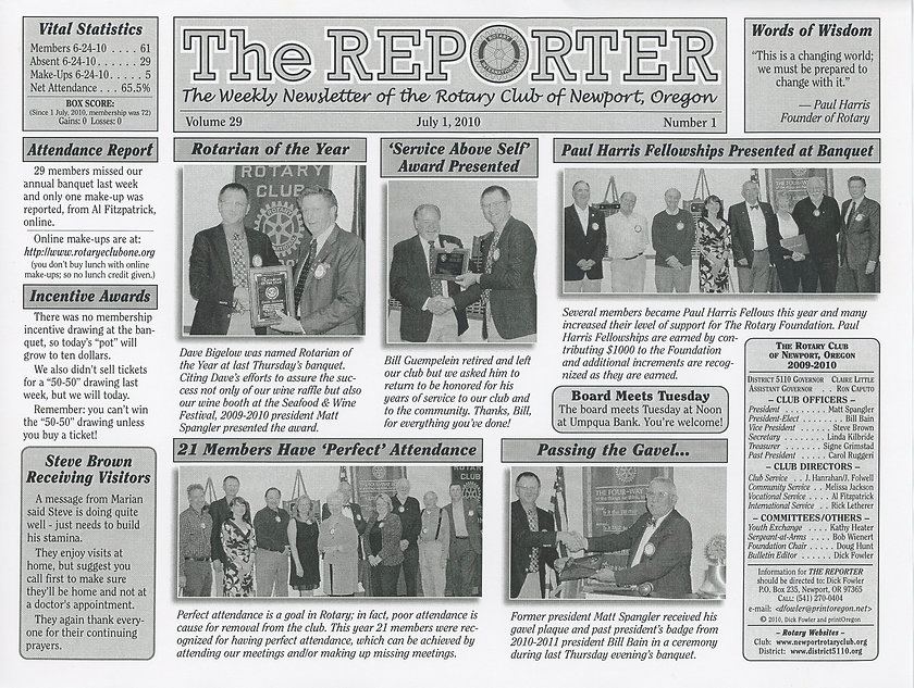 Rotary of Newport, Oregon July 1, 2010 newsletter