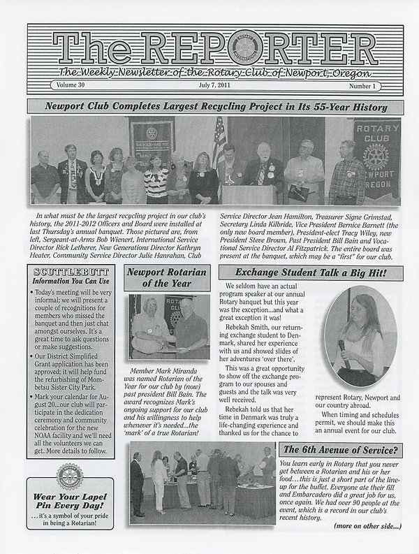 Rotary of Newport, Oregon July 7, 2011 newsletter