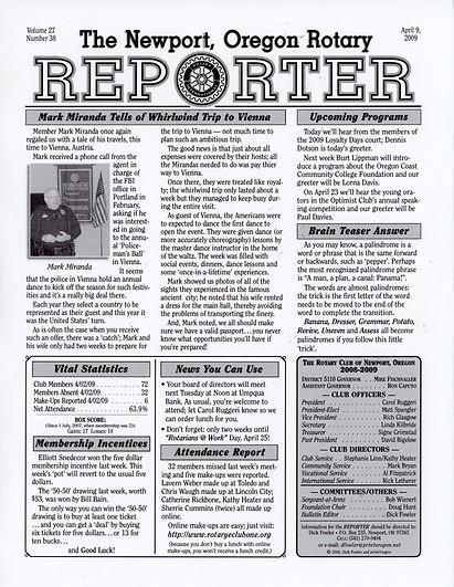 Rotary of Newport, Oregon April 9, 2009 newsletter
