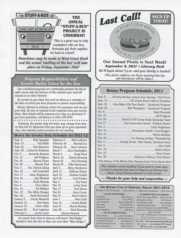 Rotary of Newport, Oregon September 1, 2011 newsletter