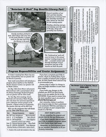 Rotary of Newport, Oregon April 30, 2009 newsletter