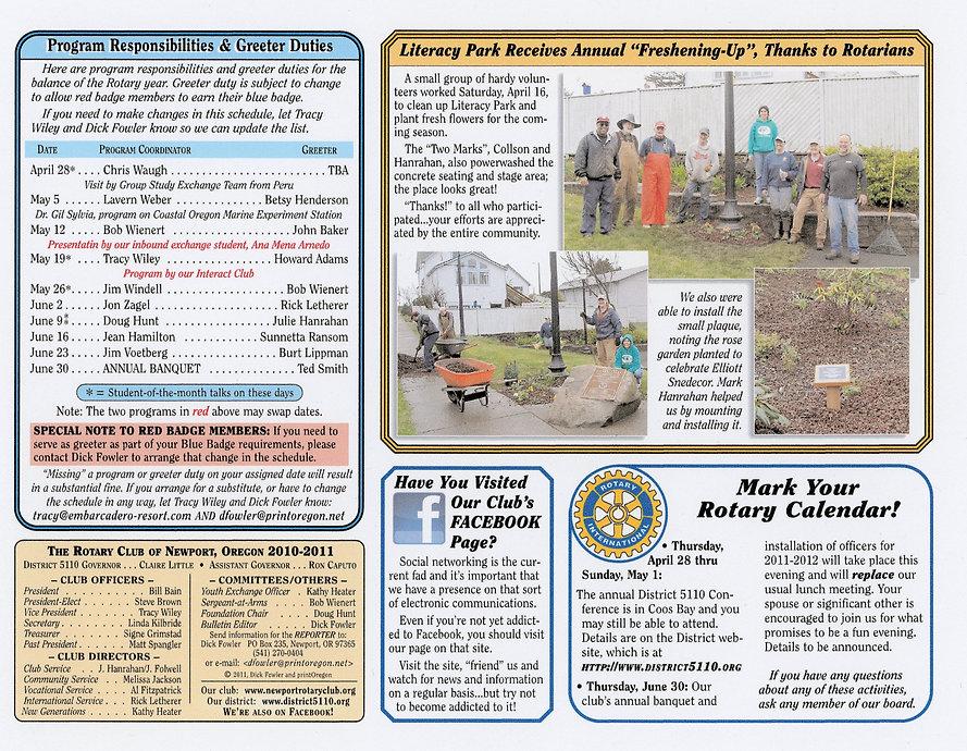 Rotary of Newport, Oregon Newsletter- April 21, 2011