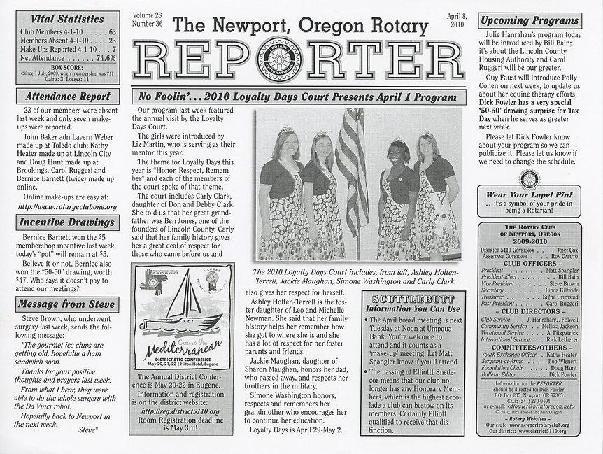 Rotary of Newport, Oregon April 8, 2010 newsletter