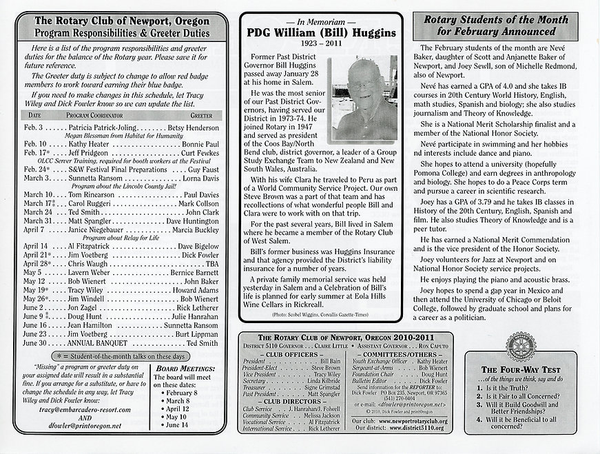 Rotary of Newport, Oregon Newsletter- February 3, 2011