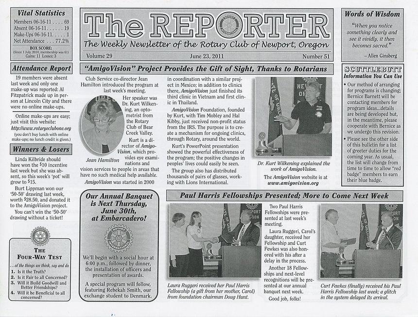 Rotary of Newport, Oregon June 23, 2011 newsletter