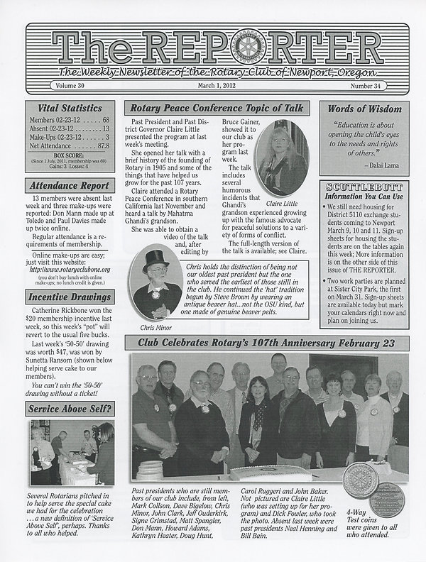 March 1, 2012 Rotary of Newport, Oregon Newsletter