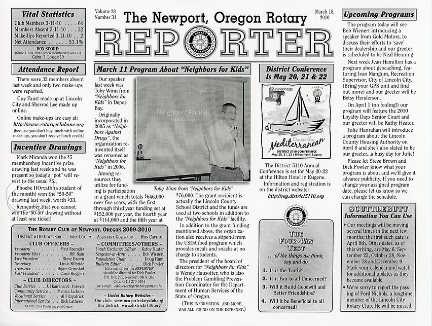Rotary of Newport, Oregon March 18, 2010 newsletter.