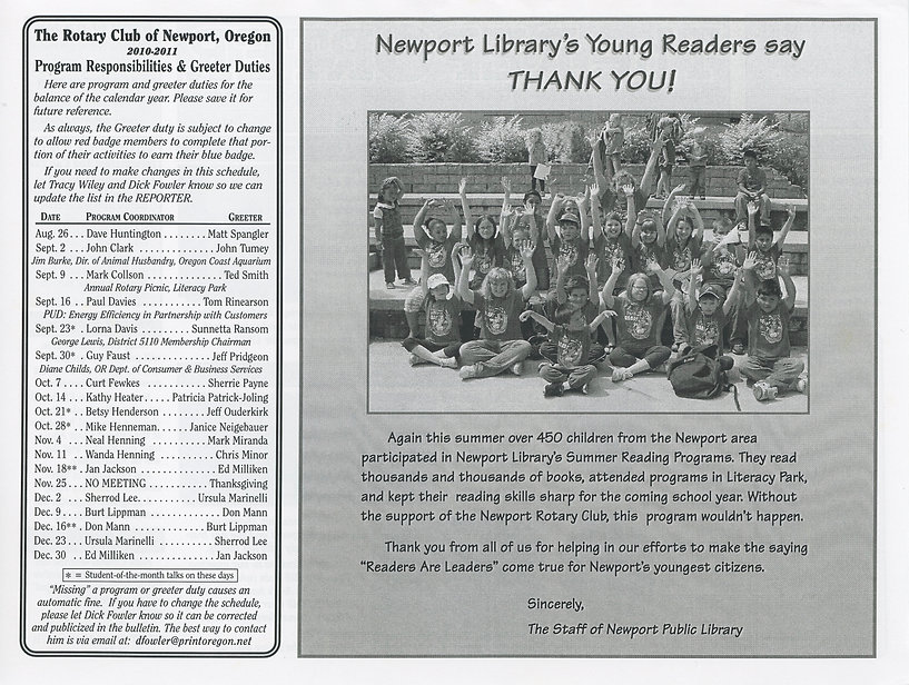 Rotary of Newport, Oregon August 26, 2010 newsletter