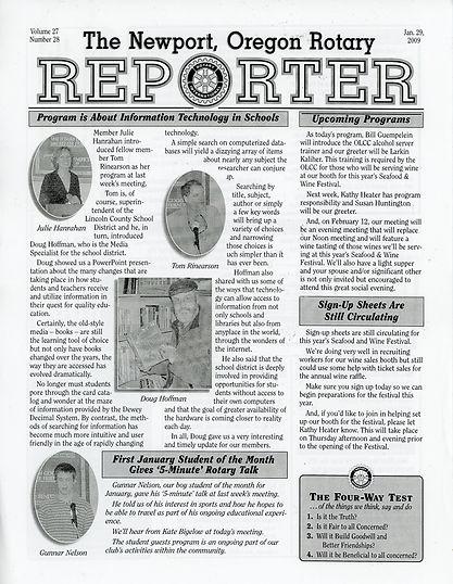 Rotary of Newport, Oregon 1.29.09 newsletter