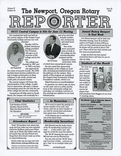 Rotary of Newport, Oregon June 18, 2009 newsletter