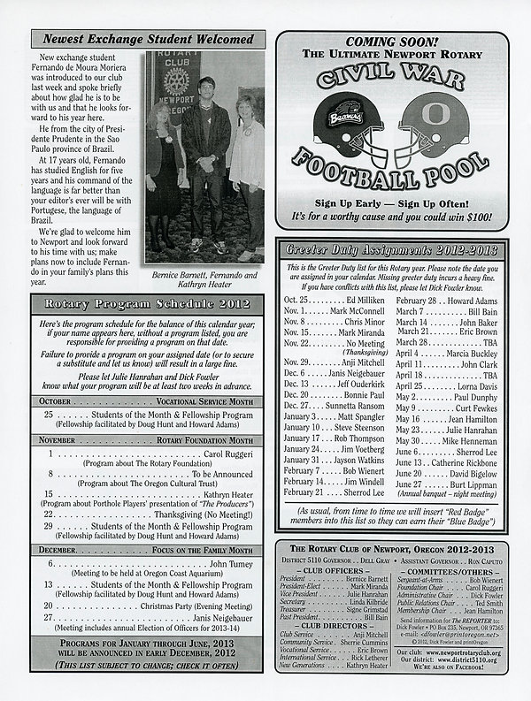 October 25, 2012 Rotary of Newport, Oregon Newsletter.