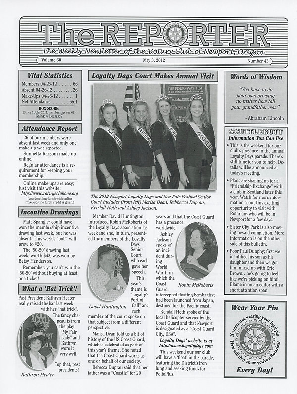 May 3, 2012 Rotary of Newport, Oregon Newsletter