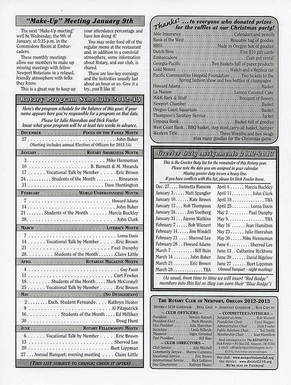 December 27, 2012 Rotary of Newport, Oregon Newsletter.