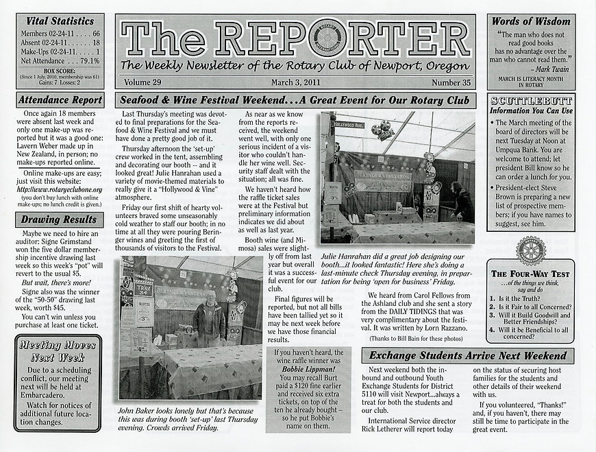 Rotary of Newport, Oregon Newsletter- March 3, 2011