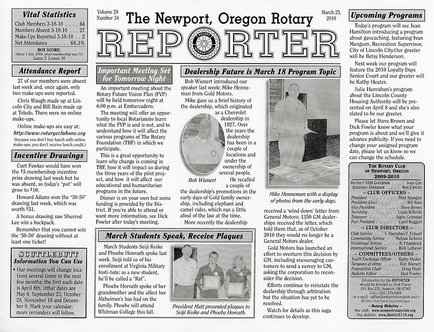 Rotary of Newport, Oregon March 25, 2010 newsletter.