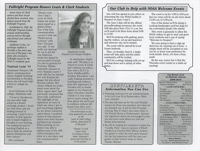 Rotary of Newport, Oregon May 20, 2010 newsletter