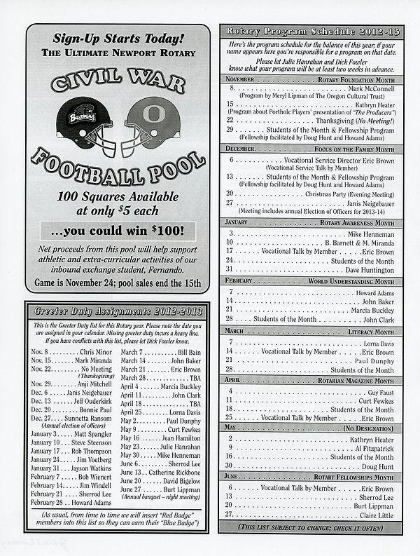 November 8, 2012 Rotary of Newport, Oregon Newsletter.