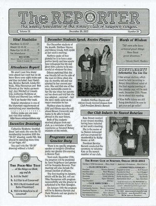 December 20, 2012 Rotary of Newport, Oregon Newsletter.
