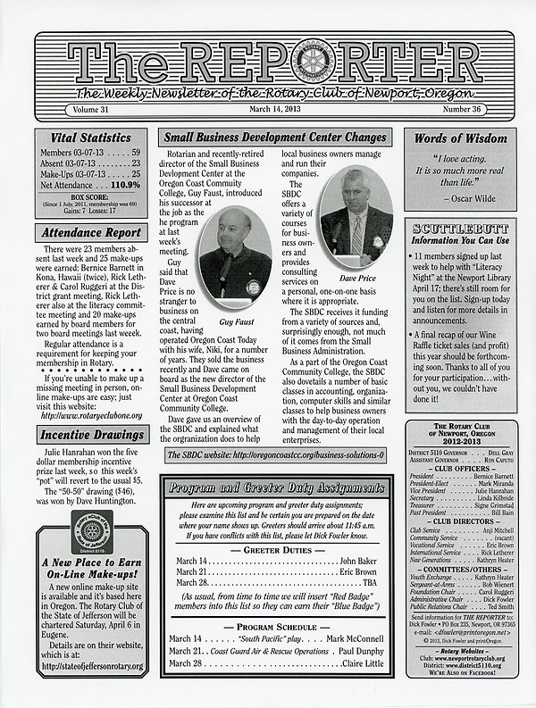 March 14, 2013 Rotary of Newport, Oregon Newsletter