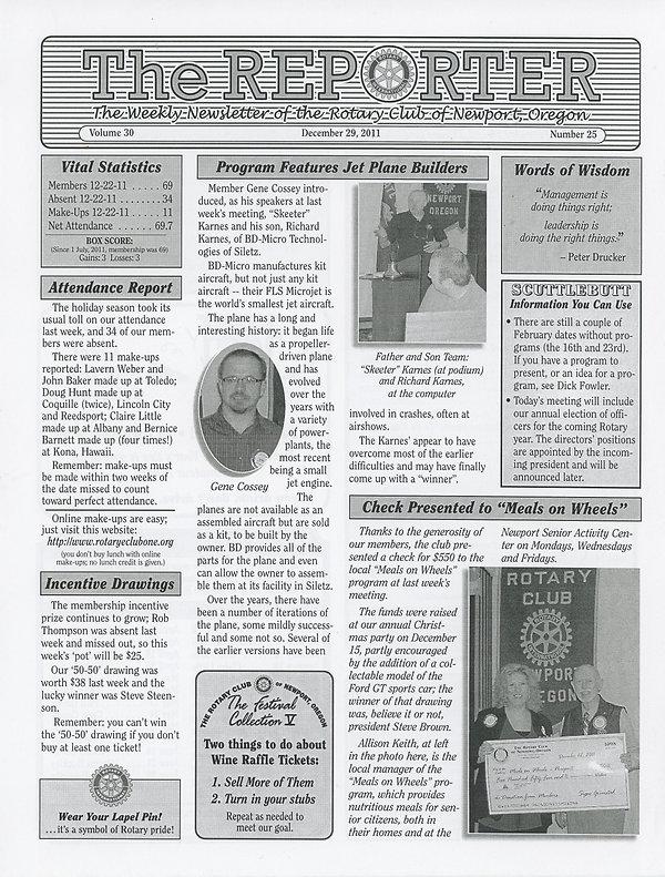 Rotary of Newport, Oregon December 29, 2011 newsletter