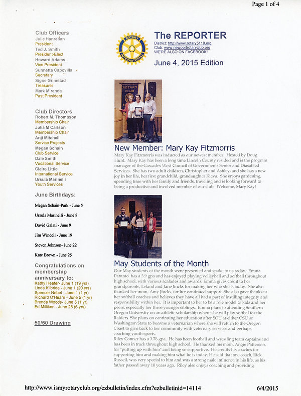 June 4, 2015 Rotary of Newport Newsletter