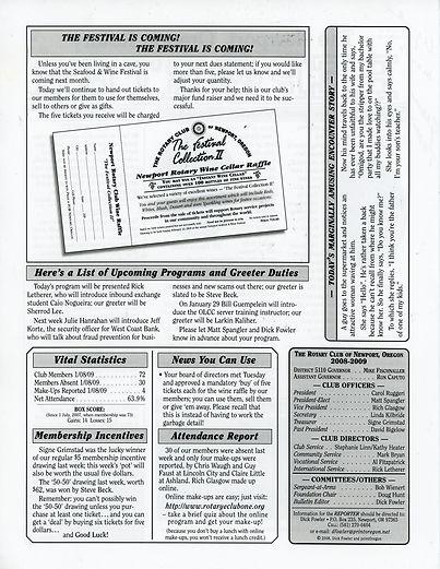 Rotary of Newport, Oregon 1.15.09 newsletter