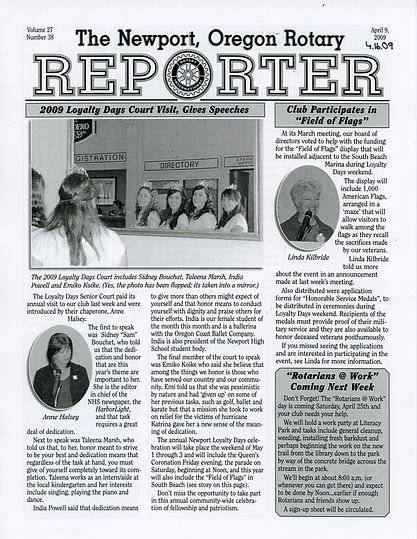 Rotary of Newport, Oregon April 16, 2009 newsletter