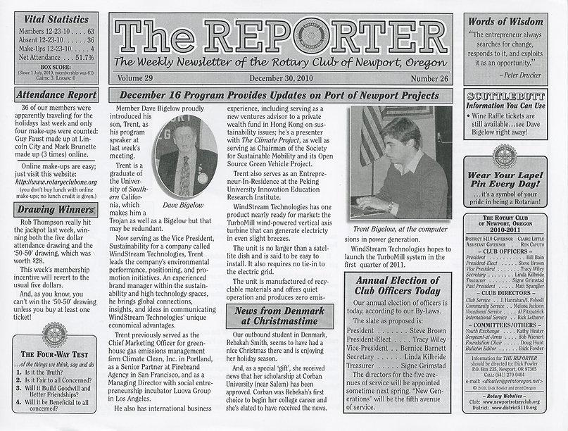 Rotary of Newport, Oregon December 30, 2010 newsletter