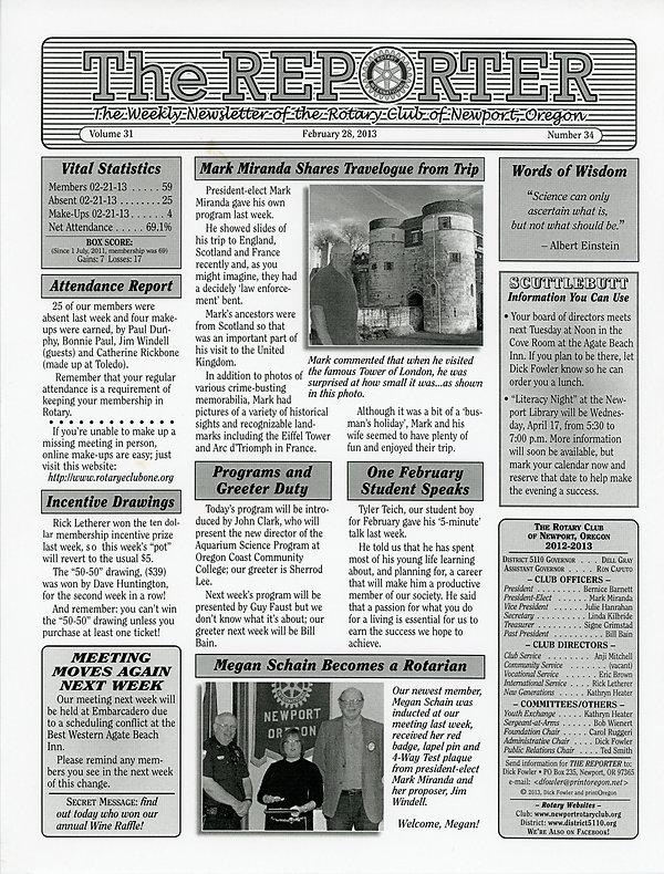 February 28, 2013 Rotary of Newport, Oregon Newsletter