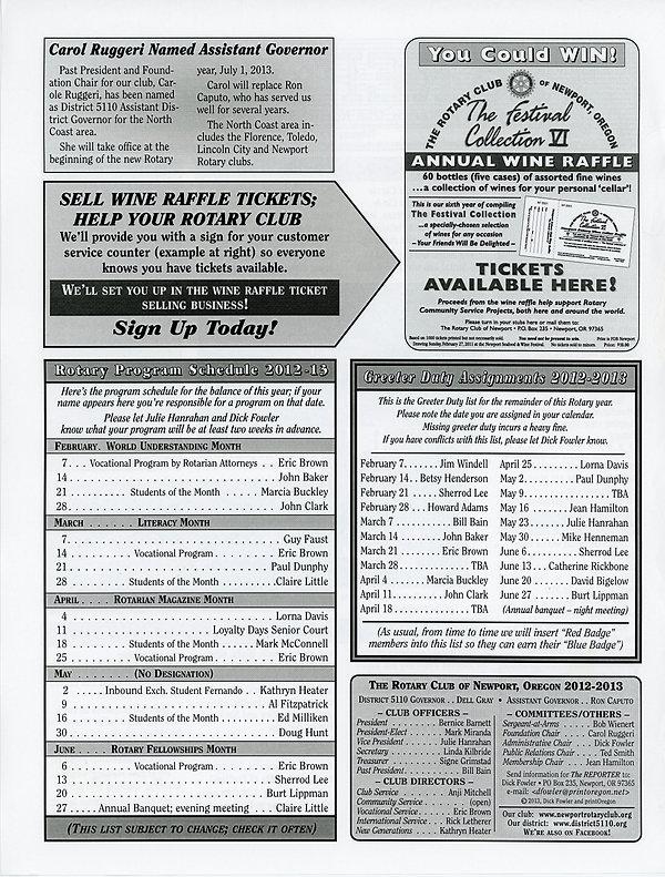 February 7, 2013 Rotary of Newport, Oregon Newsletter
