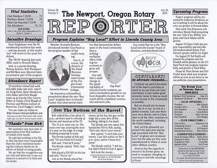 Rotary of Newport, Oregon July 30, 2009 newsletter