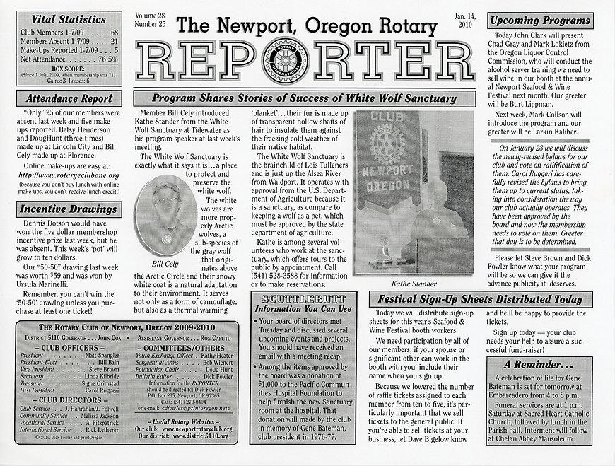 Rotary of Newport, Oregon January 14, 2010 newsletter.