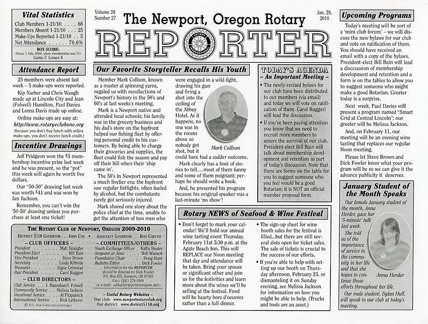 Rotary of Newport, Oregon January 28, 2010 newsletter.