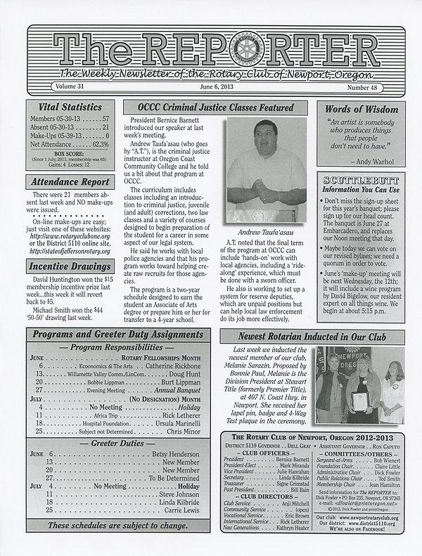 June 6, 2013 Rotary of Newport Newsletter