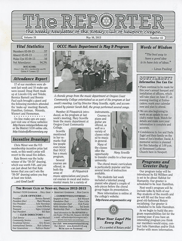 May 16, 2013 Rotary of Newport Newsletter