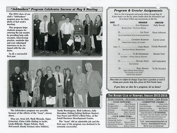 May 15, 2014 Rotary of Newport, Oregon Newsletter