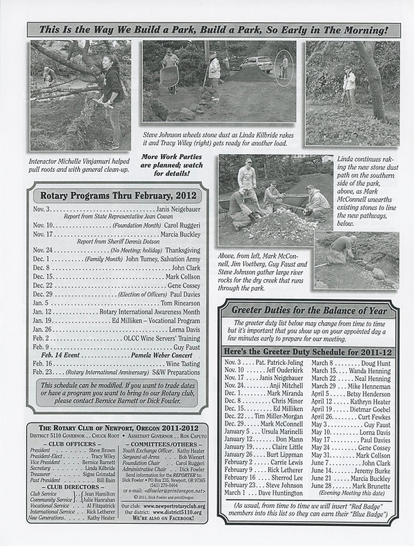 Rotary of Newport, Oregon October 27, 2011 newsletter