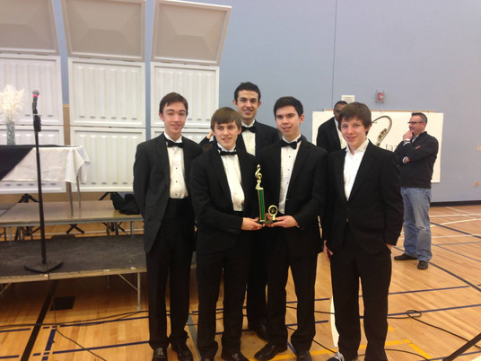 My high school jazz combo winning first place at a competition