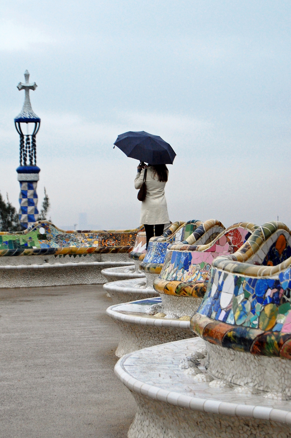 observing park guell in the rain